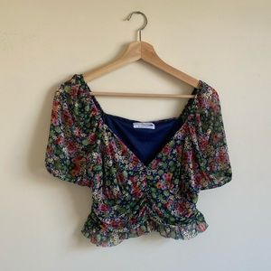 NWOT Urban Outfitters Floral Mesh Crop Top
